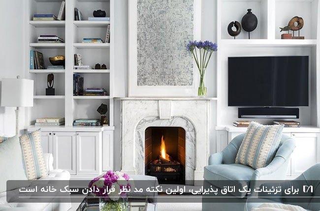 تصویر نشیمن دکور شده ای با شومینه و قفسه های دیواری