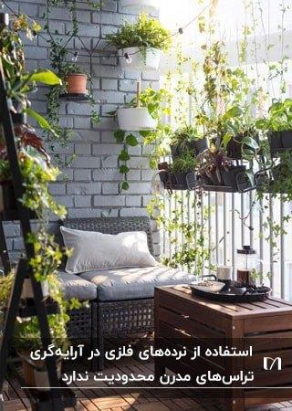 تراس کوچک خانه ای با گلدان های گیاهان روی نرد و دیوار