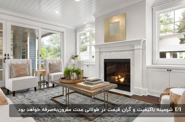 شومینه ای سفید با یک قاب طلایی بالای شومینه در نشیمنی به سبک مدرن