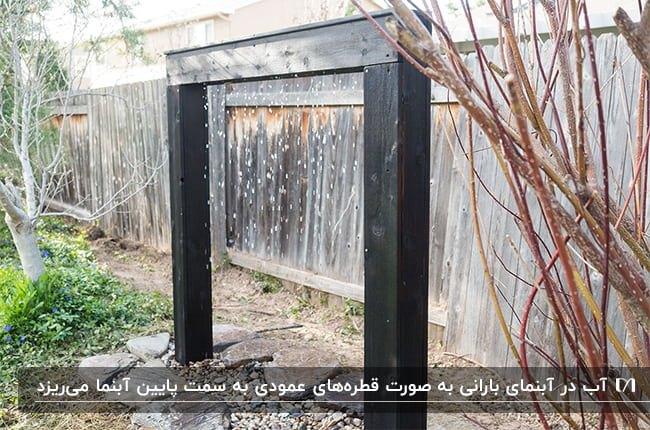 آبنمای حیاطی بارانی با فریم مشکی در حیاطی با دیوارهای چوبی
