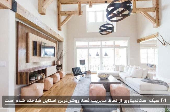 نشیمنی به سبک اسکاندیناوی با لوسترهای گرد مشکی، مبلمان سفید و دیوار تلویزیون تزئین شده با چوب