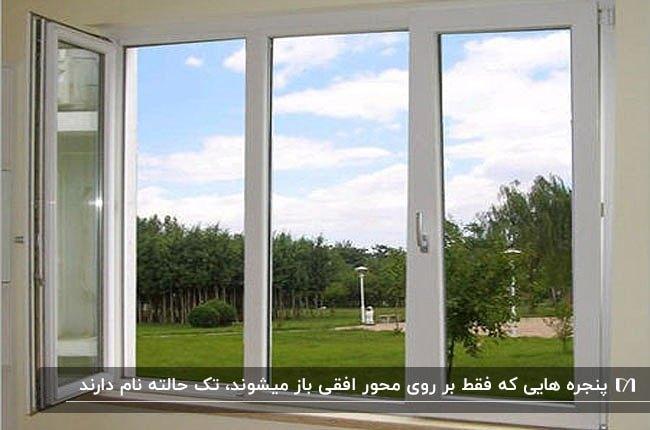 تصویر پنجره upvc تک حالته با منظره سرسبز بیرون از آن