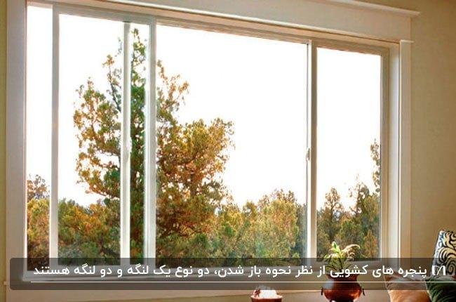 تصویر یک پنجره کشویی با فریم سفید از نمای داخل خانه