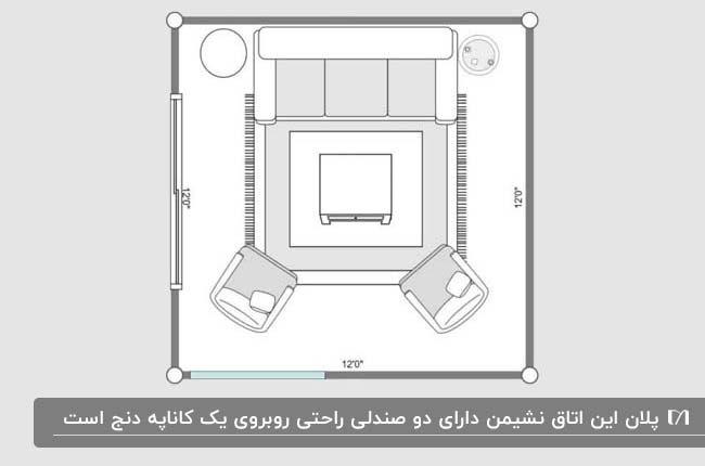 پلان یک نشیمن مربع با دو صندلی روبه روی کاناپه