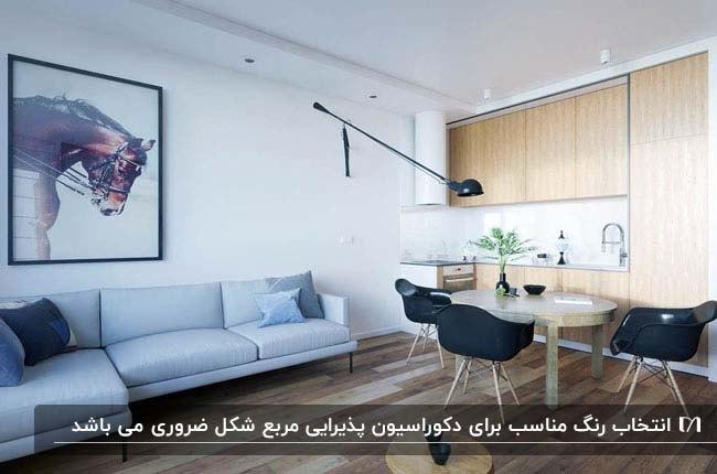 تصویر نشیمن مربعی کوچکی با مبلمان ال شکل آبی و آشپزخانه ای در امتداد دیوار