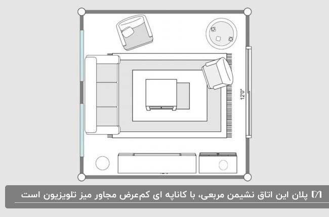 پلان یک اتاق نشیمن مربع با کاناپه ای در مجاورت تلویزیون