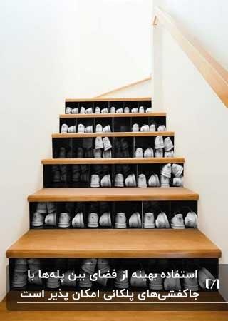 تصویری جاکفشی پلکانی برای فضای مابین پله های خانه