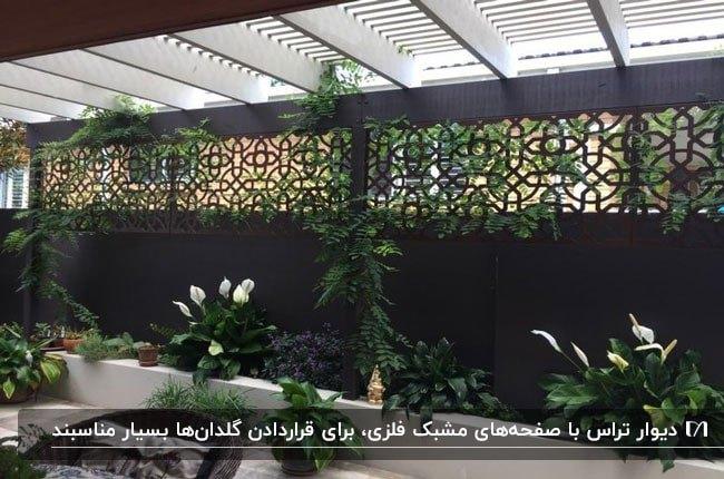 پنل فلزی مشبک مشکی برای دیوار تراس با گلدان های گل