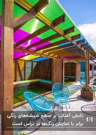 تصویر یک تراس با سقف طلقی رنگی و دو صندلی فلزی آبی