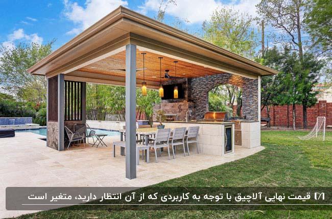 آلاچیقی با دیواره سنگی، سقف چوبی و میز و صندلی و آشپزخانه ای کوچک روی بام