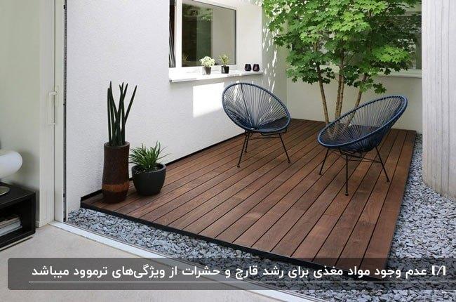 کفپوش ترموود برای پاسیویی با دو صندلی فلزی سرمه ای در کنار یک درخت