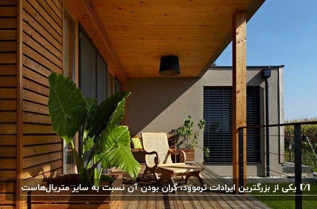 تصویری یک تراس باریک با کفپوش، دیوارپوش و سقف ترموود