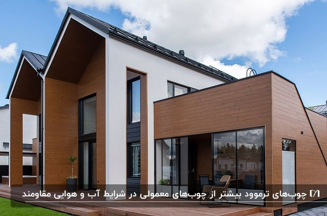 تصویر نمای ویلایی با ترکیب ترموود و سیمان سفید و درب و پنجره هایی با فریم مشکی