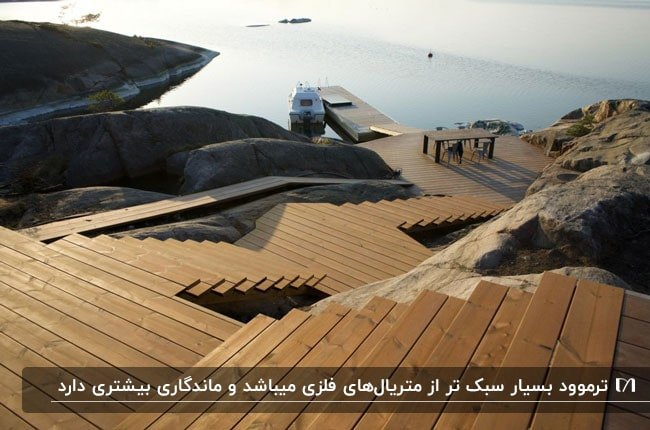 تصویری از پله های مسیر یک اسکله که با ترموود ساخته شده است