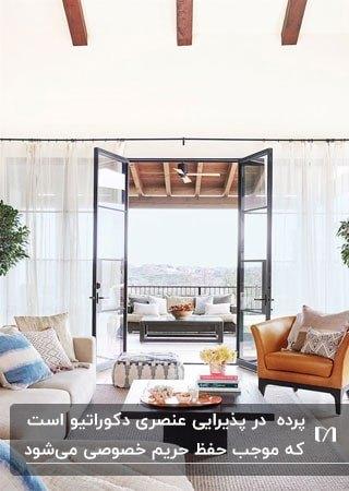 نشیمن پرنور و روشنی با دیوار شیشه ای با پرده های نازک سفید و مبلمان
