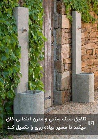 آبنمایی دیواری دو طرف دروازه ورودی باغ