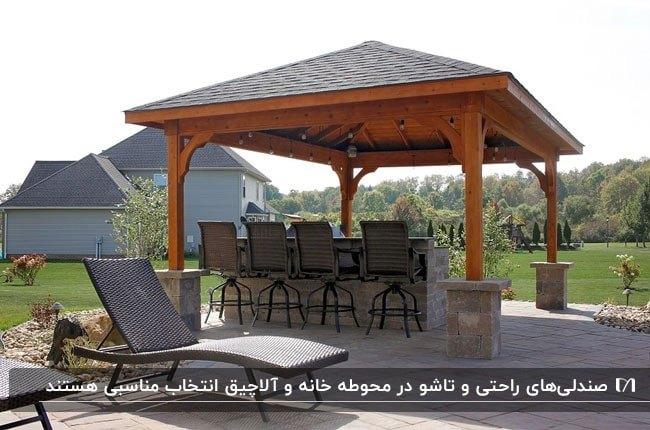 سایبانی چوبی با سقف شیروانی و انواع صندلی های راحتی برای استراحت