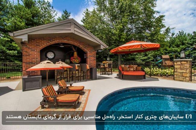 سایبان های چتری نارنجی برای سایه مبل ها و صندلی های کنار استخر