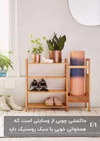 جاکفشی ساده چوبی ای با دو گلدان مسی و دو کفش در آن