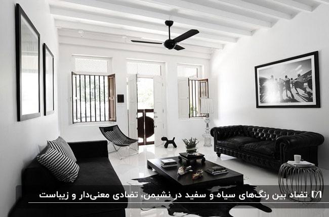 نشیمن با مبلمان و میز جلو مبلی مشکی با دیوارها و کفپوش سفید و پنکه سقفی مشکی