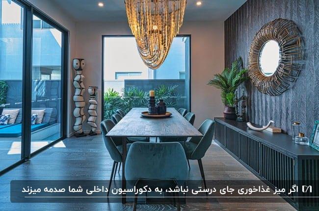 تصویر اتاق غذاخوری آبی رنگ با یک میز نهارخوری و صندلی هایش در آن