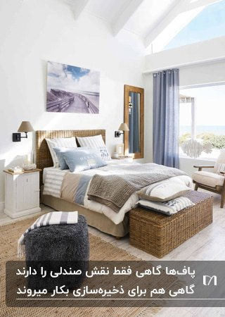اتاق خوابی به سبک اسکاندیناوی با تخت حصیری، پاف های حصیری و خزدارو دیوار شیشه ای