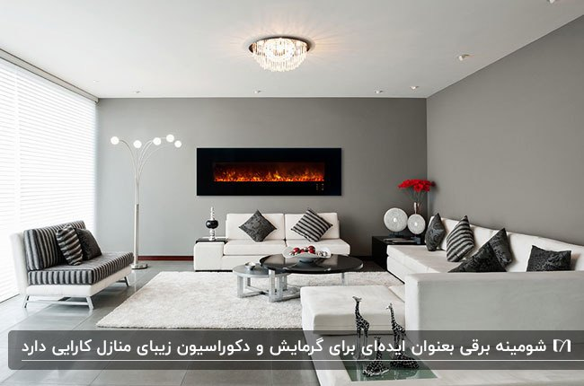 شومینه برقی مستطیلی مشکی روی دیوار خاکستری با مبلمان سفید و طوسی