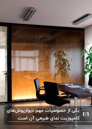 تصویر یک اتاق کار در اداره با میز و صندلی های مشکی و دیوارپوش کامپوزیتی