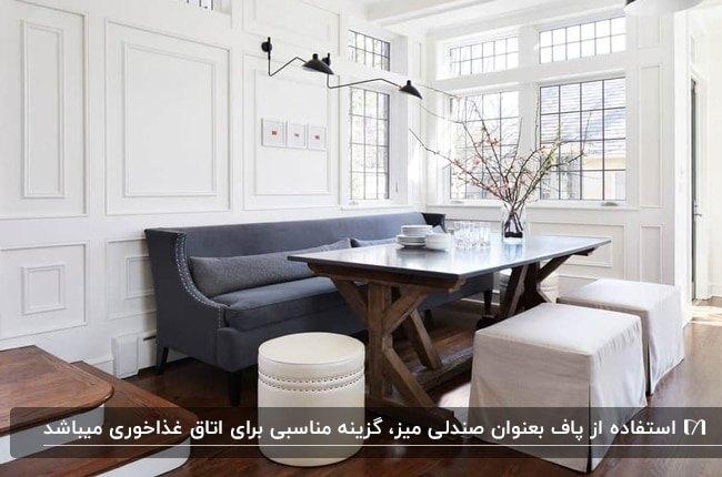 تصویر اتاق غذاخوری با میز چوبی، نیمکت خاکستری و پاف های سفید کنار پنجره