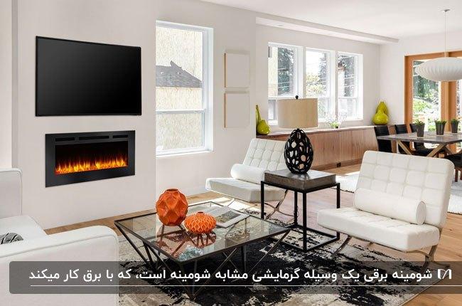 نشیمنی مدرن با مبلمان سفید و شومینه برقی روی دیوار و تلویزیون بالای شومینه