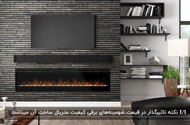 شومینه برقی زیر تلویزیون روی دیوار آجری مشکی با همراه مبل چرم مشکی