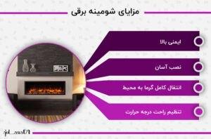اینفوگرافی مزایای شومینه برقی با تم بنفش و یک عکس شومینه برقی سیاه رنگ