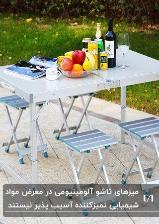 میز و صندلی چهارنفره آلومینیومی تاشو برای دورهمی های عصر