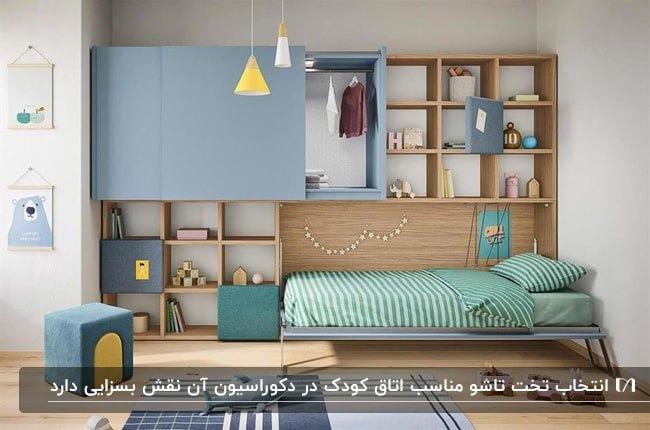 تصویر یک اتاق کودک با کمد و قفسه های چوبی روی دیوار به همراه تخت خواب تاشو با رنگ های زرد و آبی و سبز
