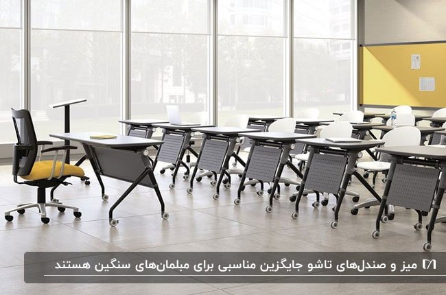 تصویری از سالن یک اداره به همراه میز و صندلی های تاشو و یک صندلی چرخدار زرد