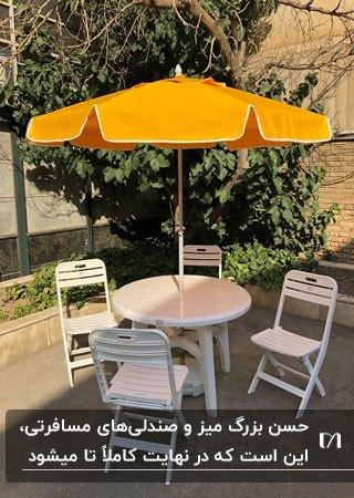 تصویر یک میز گرد و چهار صندلی سفید تاشو به همراه چتر زرد
