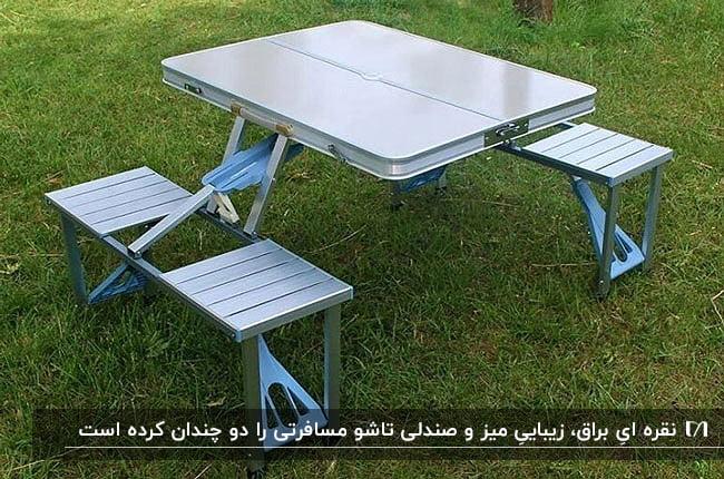 تصویر یک میز به همراه چهار صندلی تاشو مسافرتی روی زمین چمن