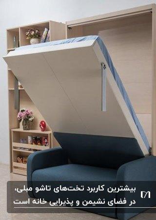 تصویر یک تخت خواب مبلی تاشو دیواری با مبل آبی کنار قفسه های روی دیوار