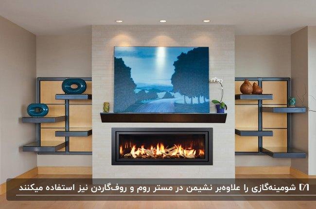 تصویر دکوراسیون داخلی خانه ای با شومینه گازی روی دیوار و قفسه های دکوراتیو دو طرف آن
