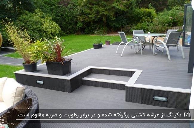 تصویر دکینگ فضای باز به رنگ طوسی و خاکستری با میز و صندلی های سفید و طوسی