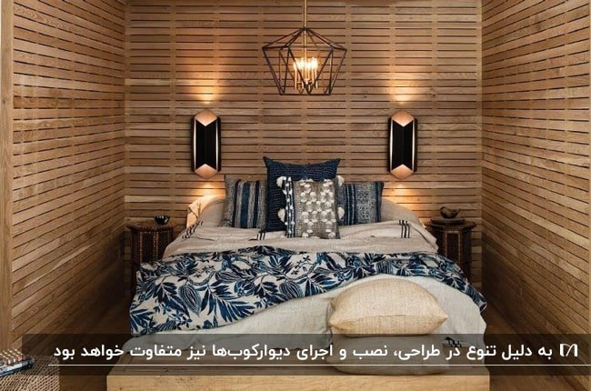اتاق خوابی با دیوار های چوبی، رو تختی سفی د و آبی و دیوارکوب هایی بالای تخت خواب