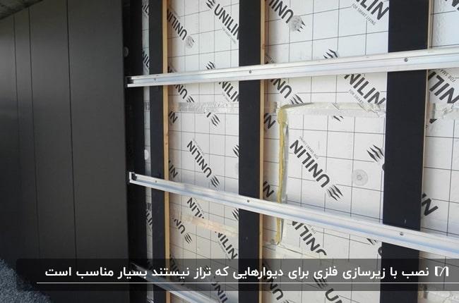 روش نصب دیوارپوش مشکی با زیرسازی فلزی