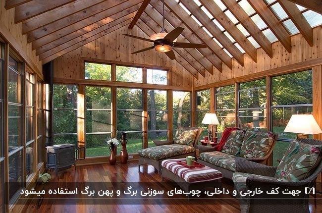 تصویر اتاق آفتاب با کفپوش دکینگ و اسکلت و سقف چوبی به همراه مبلمان