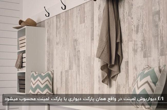 تصویر دیوارپوش از جنس لمینت با جای لباس روی دیوار و کوسن های طرحدار