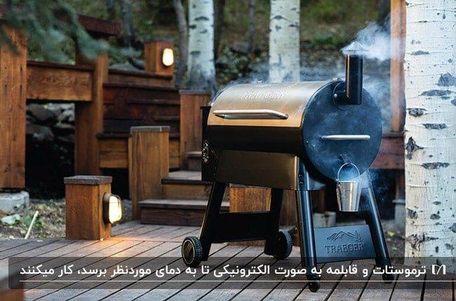 کباب پز گندله ای یا پلت به رنگ نقره ای و مشکی در مکانی با پله های چوبی نورپردازی شده
