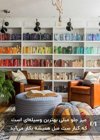 تصویر اتاقی با کتابخانه دیواری، دو مبل چرم قهوه ای و پاف طوسی جلو مبلی