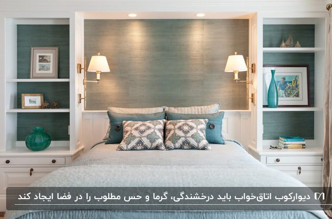 تصویر اتاق خوابی با تم رنگی آبی و سفیئ با دو آباژور دیوارکوب بالای تخت