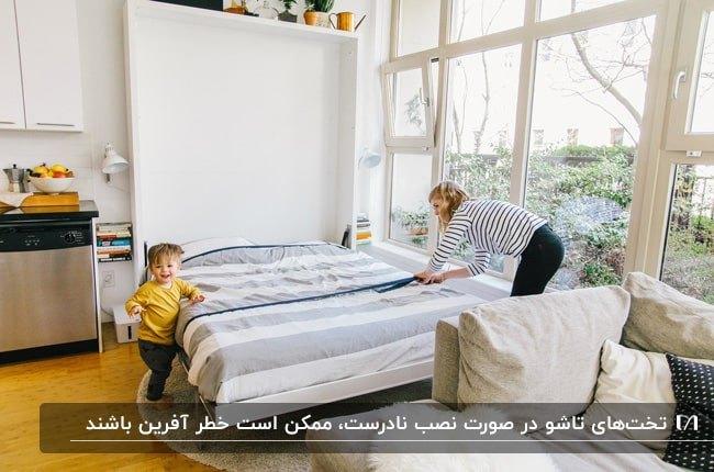 تصویر خانه کوچکی با یک تخت تاشوی دیواری کنار دیوار شیشه ای و مقابل کاناپه