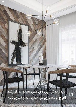 تصویری از یک اتاق نهارخوری با میزگرد چهارنفره و صندلی های مشکی و چوبی و دیوارپوش پی وی سی