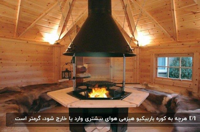تصویر یک باربیکیو هیزمی گرد وسط اتاقی چوبی با سقف شیروانی